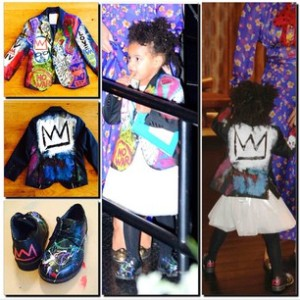Blue Ivy wearing a Jean-Michel Basquiat painted jacket for Halloween 2014.
